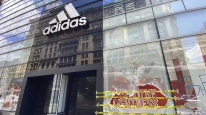 View of Adidas store as it was vandalized in last night's George Floyd murder protest in New York City on June 1, 2020.