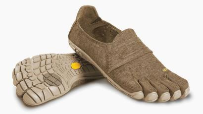 A photo of Vibram's hemp five-toed shoes, which have rubber caps at each toe and a seam as if for penny loafers.