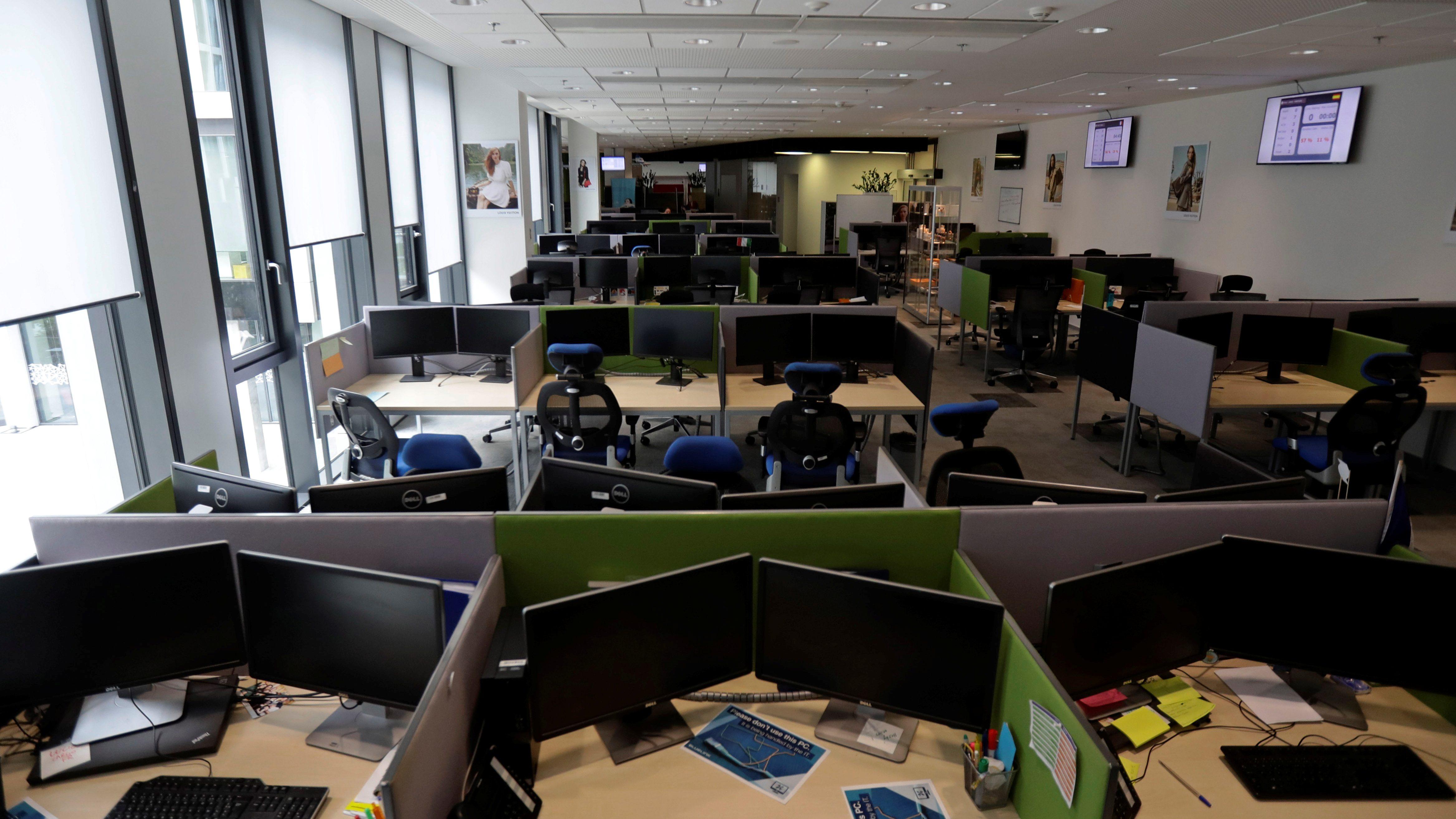 An empty open office workspace