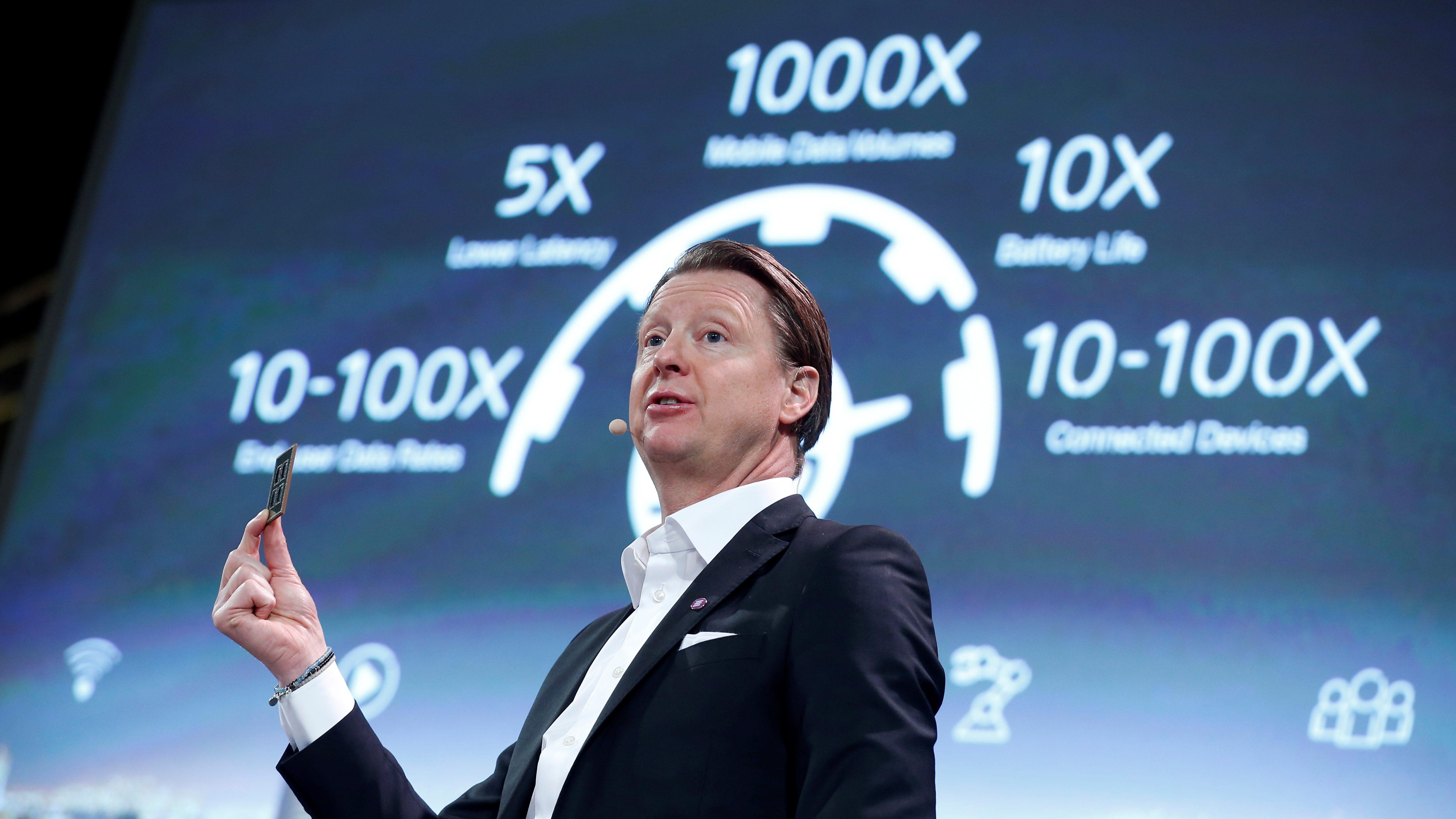 Ericsson's then-president & CEO Hans Vestberg shows a 5G chip