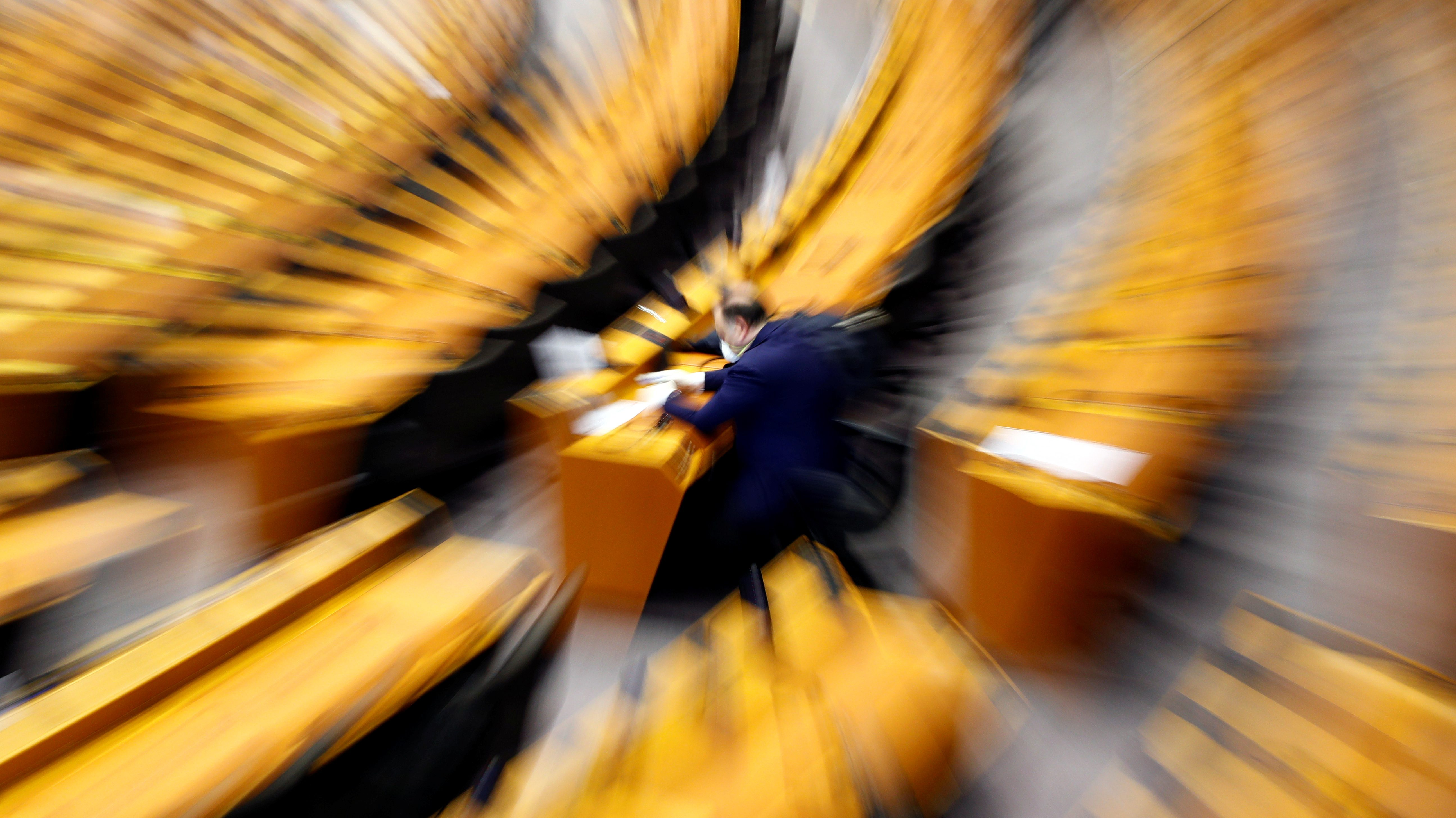 A blurry photo of the inside of the European Parliament