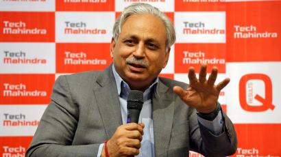 C. P. Gurnani, Chief Executive Officer of Tech Mahindra, speaks during a news conference announcing the company's quarterly results in Mumbai