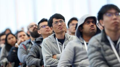 Attendees listen to the opening keynote speech during annual Google I/O developers conference in Mountain View