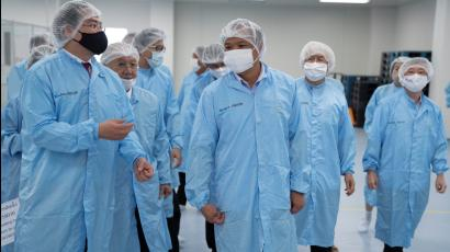 Public Health Minister Anutin Charnvirakul visits the BioNet-Asia company, which manufactures a potential COVID-19 vaccine