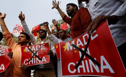 Demonstrators shout slogans during a protest organised by the activists of Swadeshi Jagran Manch, a wing of the Hindu nationalist organisation RSS as they demand the boycott of Chinese products, in New Delhi