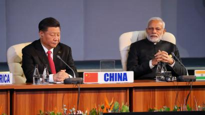 Indian Prime Minister Narendra Modi and China's President Xi Jinping attend the BRICS summit meeting in Johannesburg, South Africa, July 27, 2018.