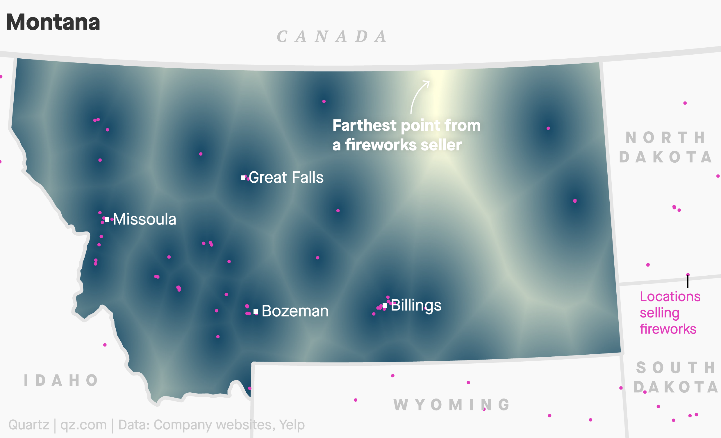 A map of locations selling fireworks in Montana