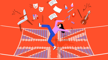 An illustration showing a woman falling into a net shaped like the British flag. An array of other items, including a chair, pliers, nail polish, and a violin are also falling into the net.