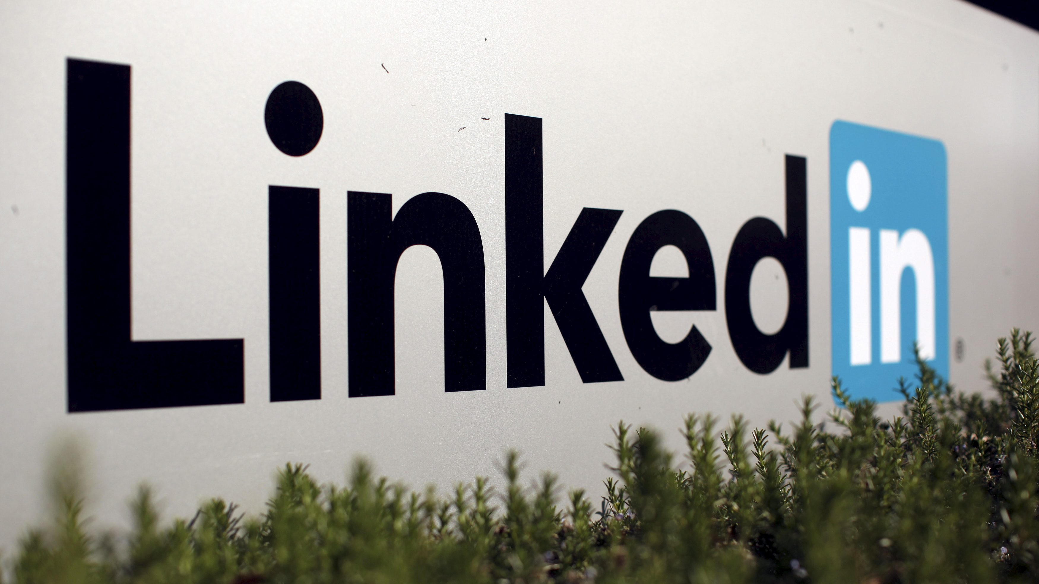 The logo for LinkedIn Corporation is shown in Mountain View, California, U.S.