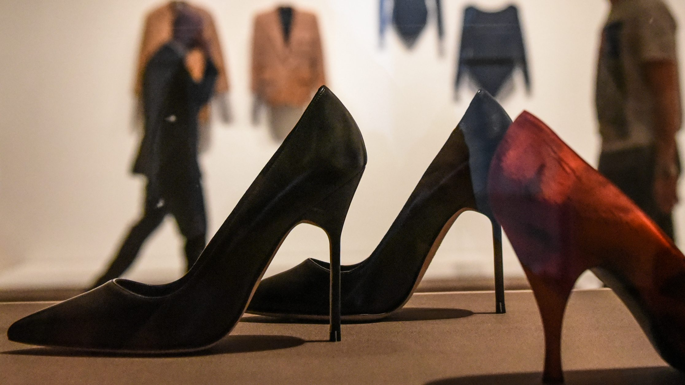 High heeled shoes are seen on display at the Museum of Modern Art