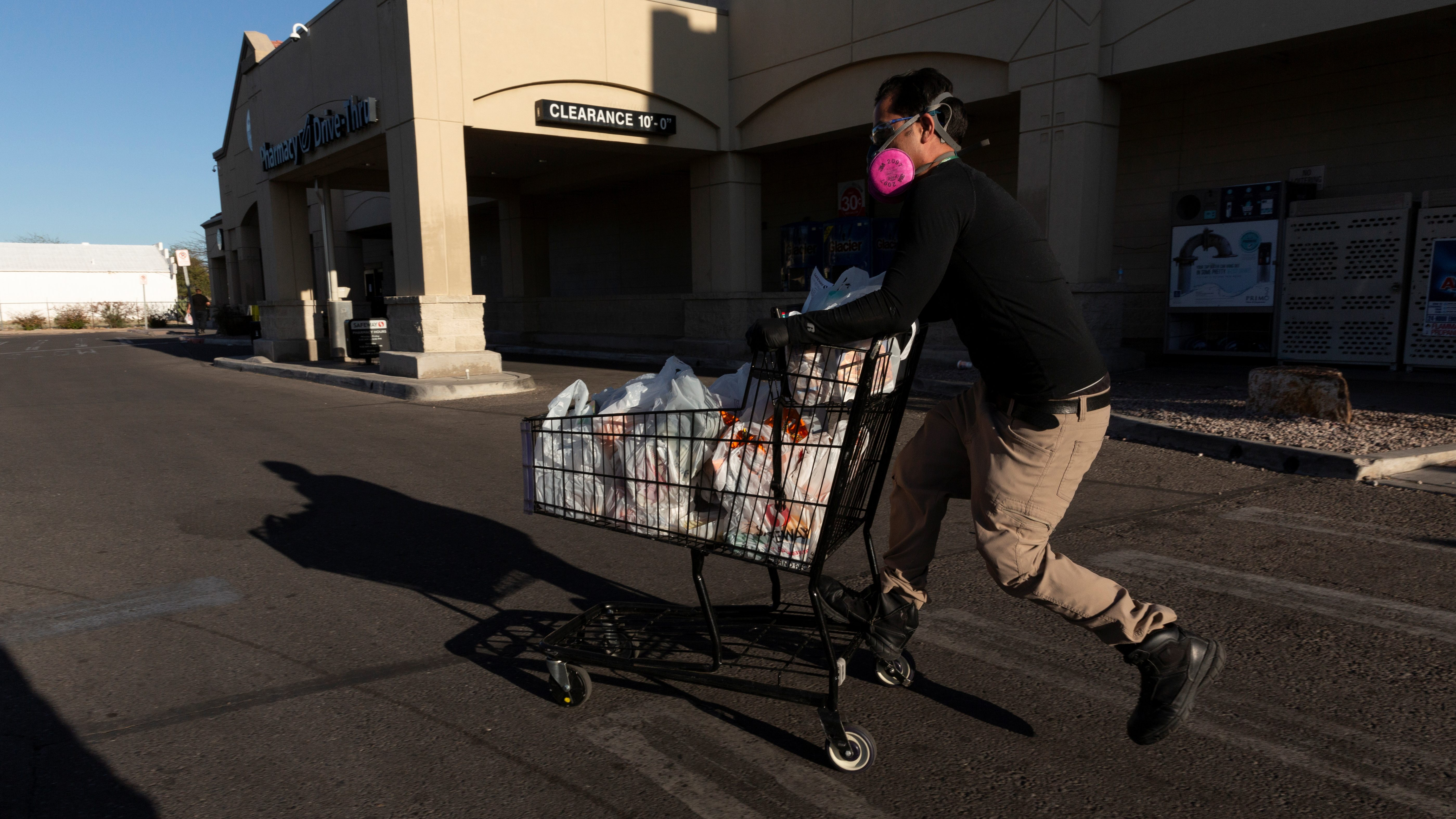 An Instacart employee is pictured working amid the coronavirus outbreak.