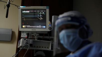 A monitor shows the vital signs of a mock coronavirus patient during an exercise simulating the treatment of a large number of patients due to the spread of the coronavirus disease (COVID-19) at the Aga Khan University Hospital in Nairobi.