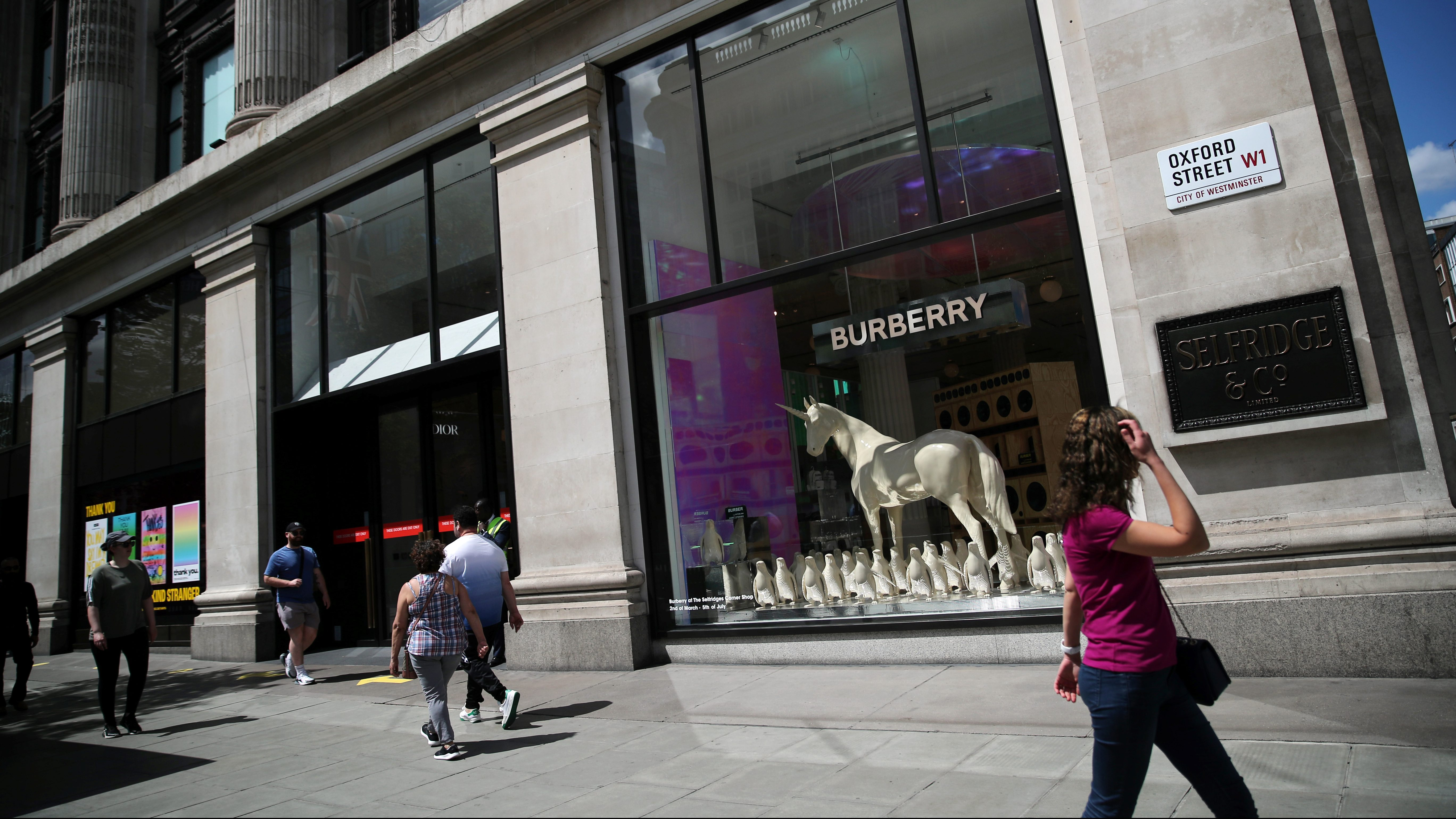 A Burberry display is pictured at Selfridges department store, amid the spread of the coronavirus disease (COVID-19) in Oxford Street in London, Britain June 14, 2020