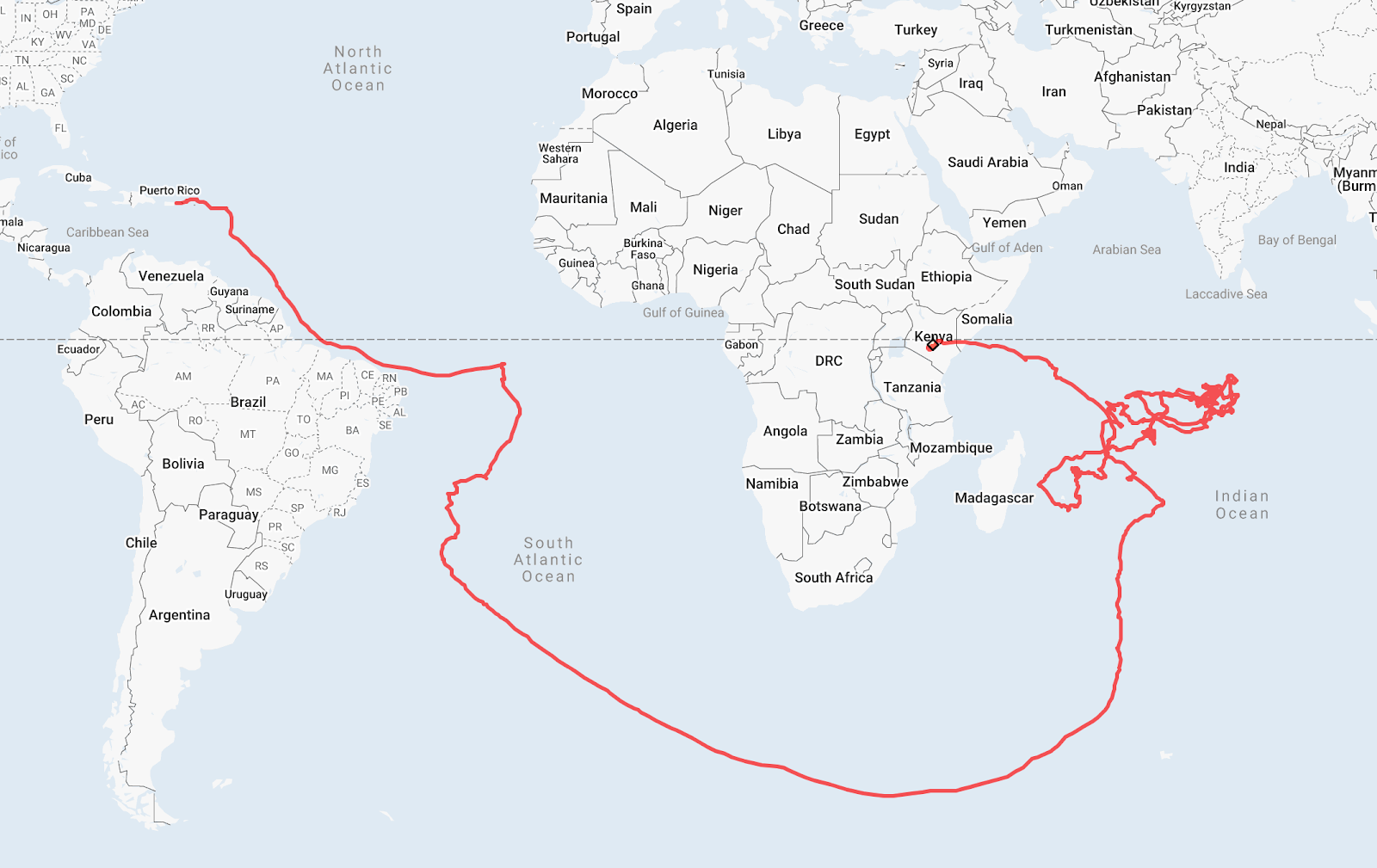 A map showing the route of Alphabet's Loon balloons from Puerto Rico to Kenya.