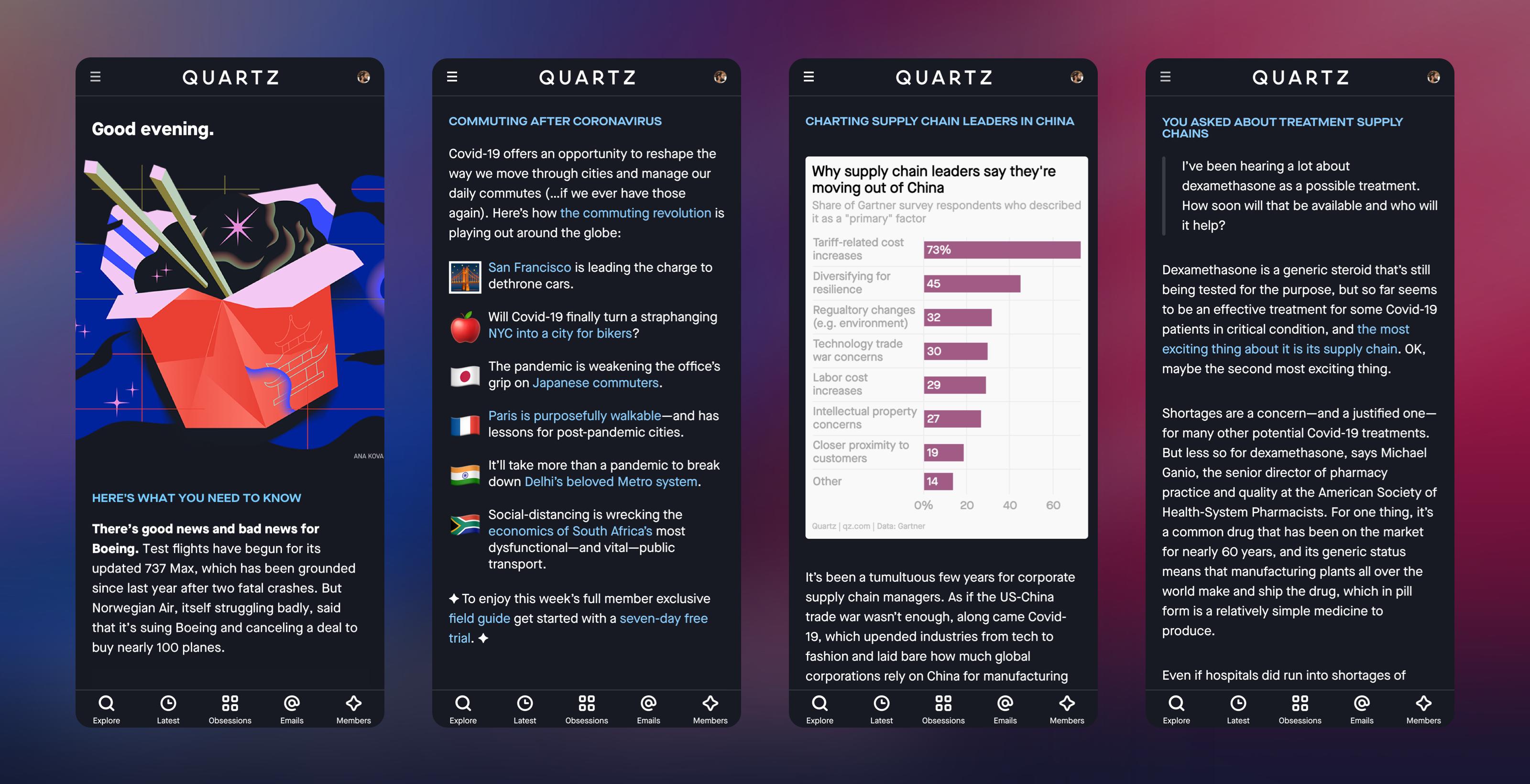 A mockup of the new Quartz homepage.