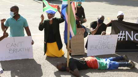 Protesters demonstrate in Pretoria, South Africa on June 5.