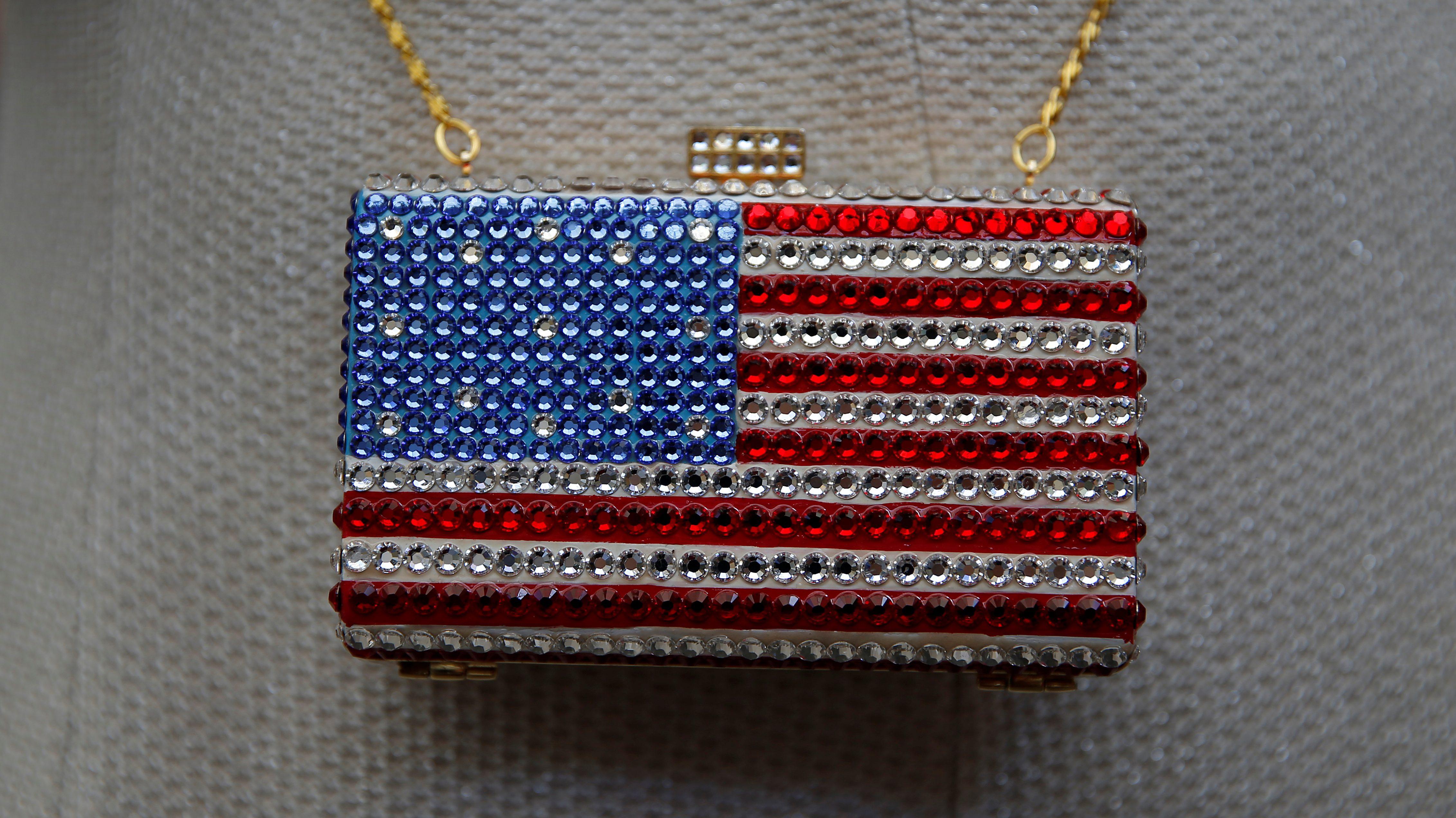 An American-flag themed purse.