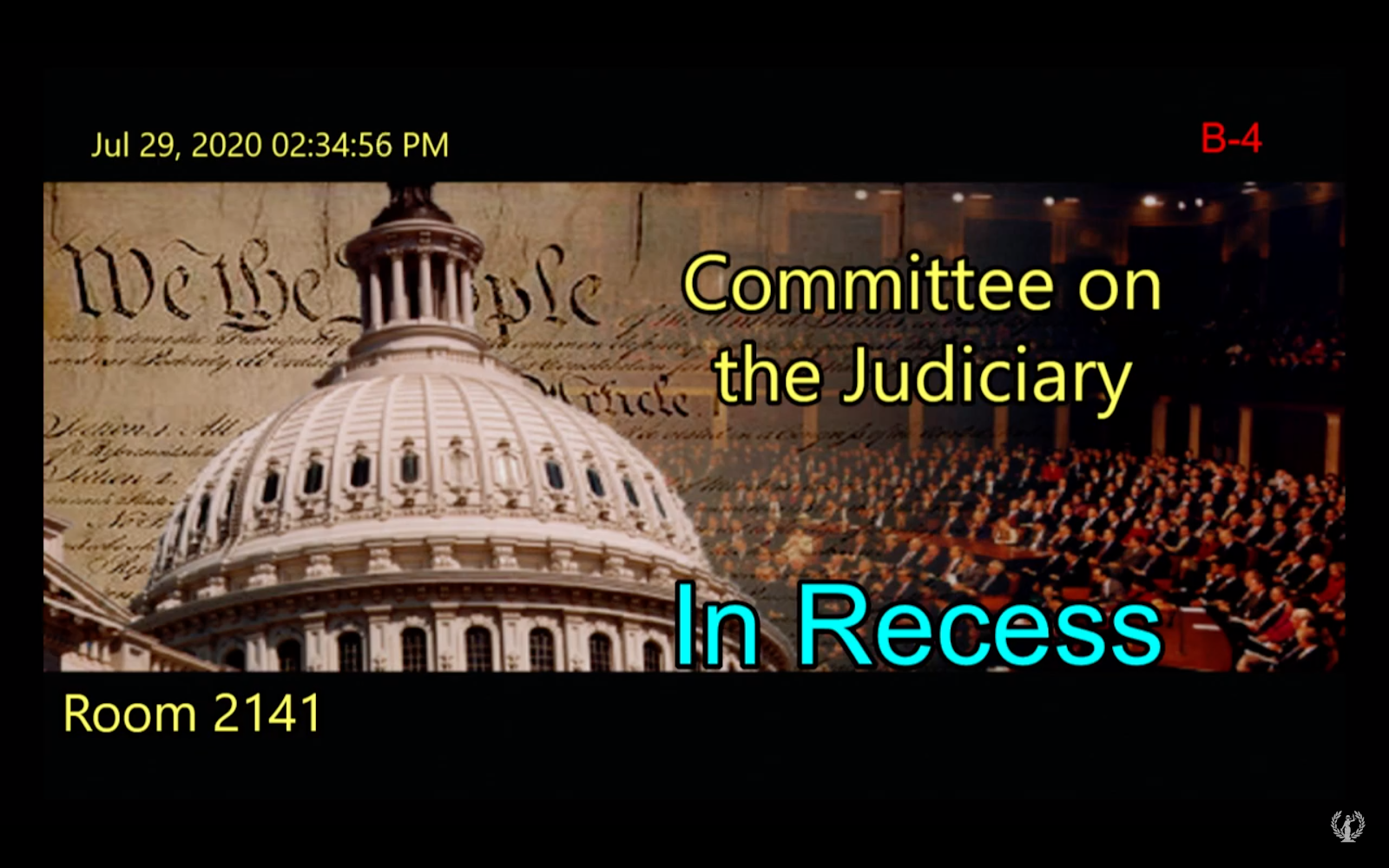 A crudely edited graphic announces a recess in the antitrust committee hearing