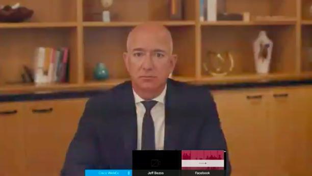 A startled Jeff Bezos accidentally interrupts Mark Zuckerberg's Congressional testimony