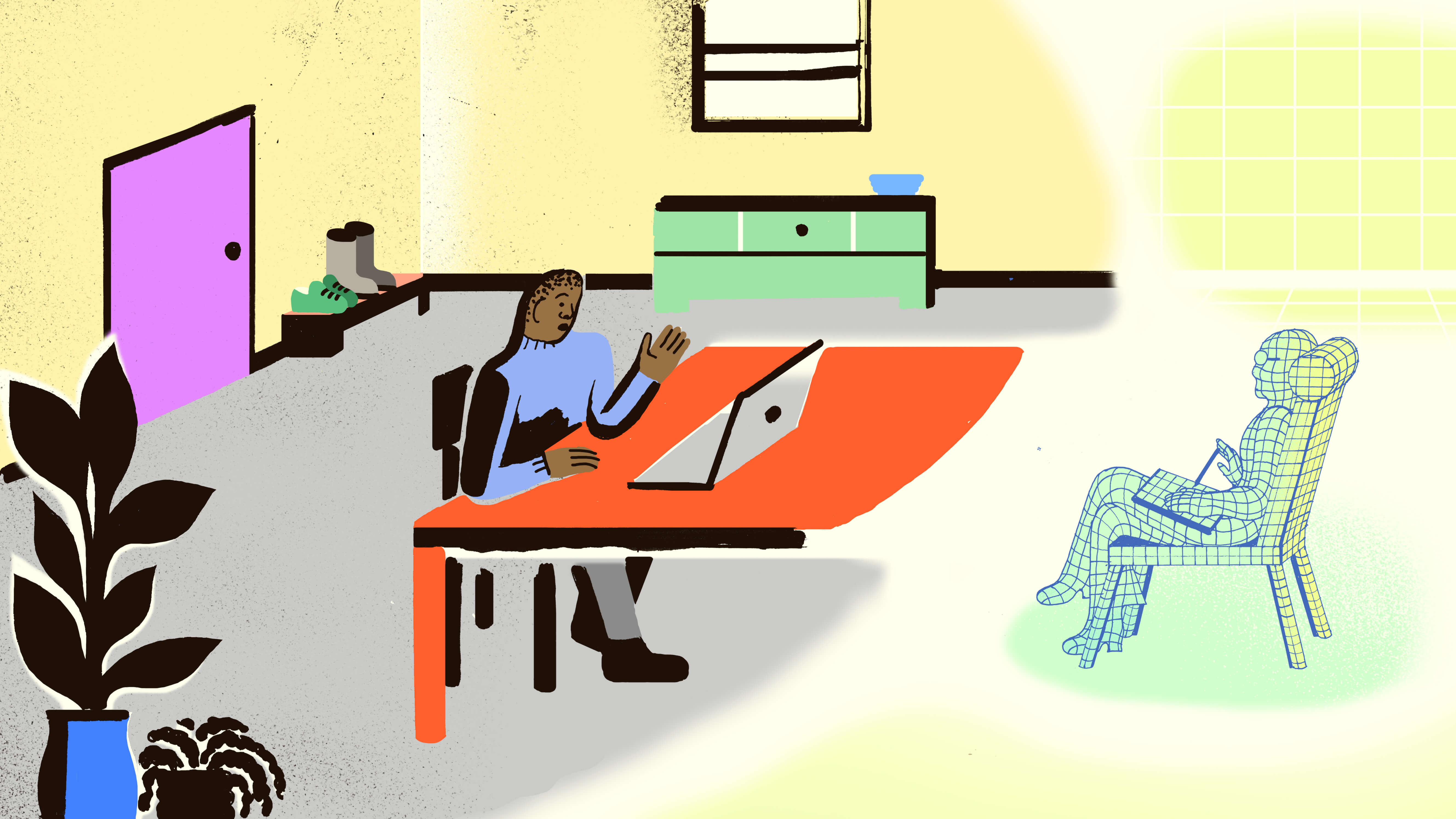Illustration of doctor talking to patient through laptop.