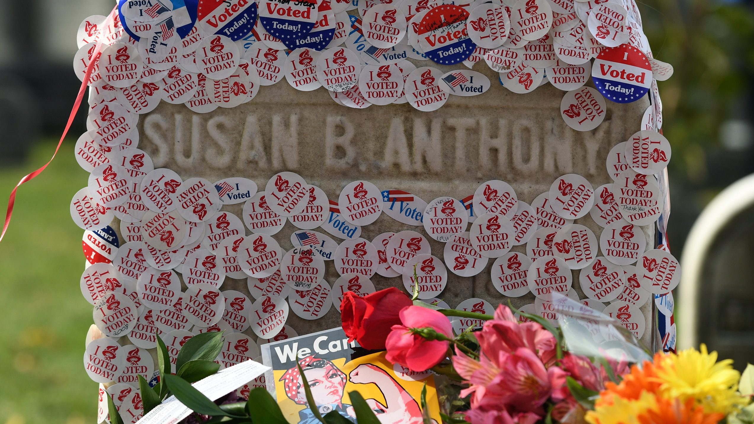 "The grave of women's suffrage leader Susan B. Anthony is covered with ""I Voted"" stickers left by voters in the U.S. presidential election, at Mount Hope Cemetery in Rochester, New York November 8, 2016."