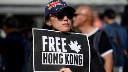 Supporters hold a rally in solidarity with Hong Kong protesters, in Vancouver, British Columbia, Canada September 29, 2019.