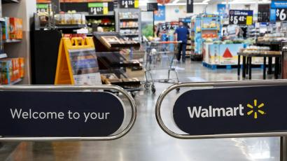 The entrance to a Walmart store