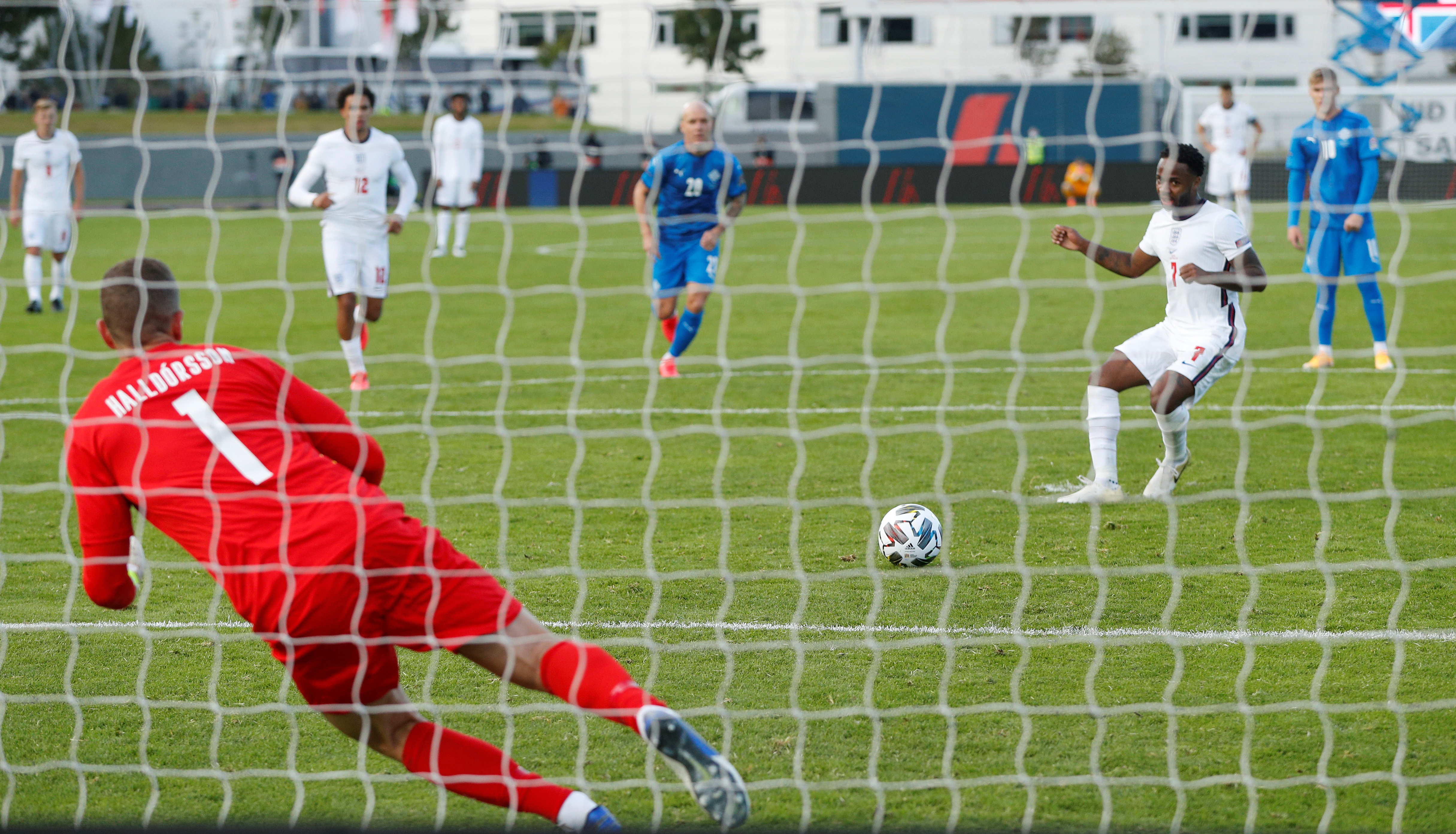 England's Raheem Sterling scores a goal.