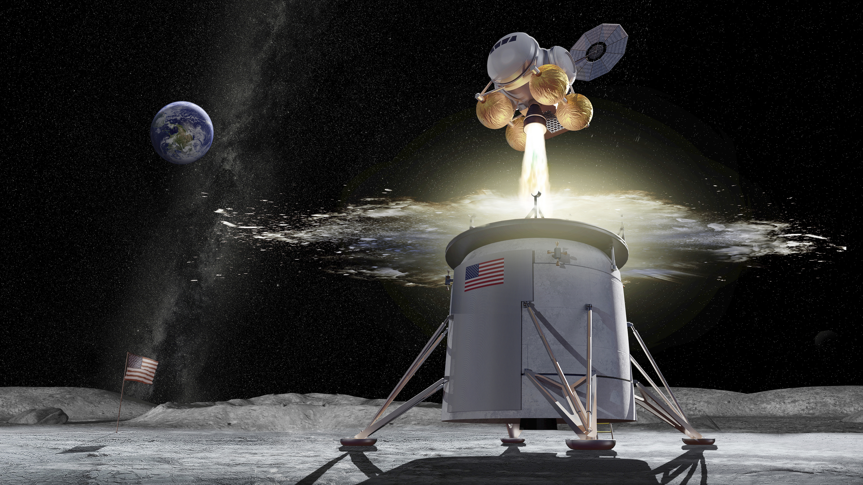 How NASA envisioned the moon lander working out.