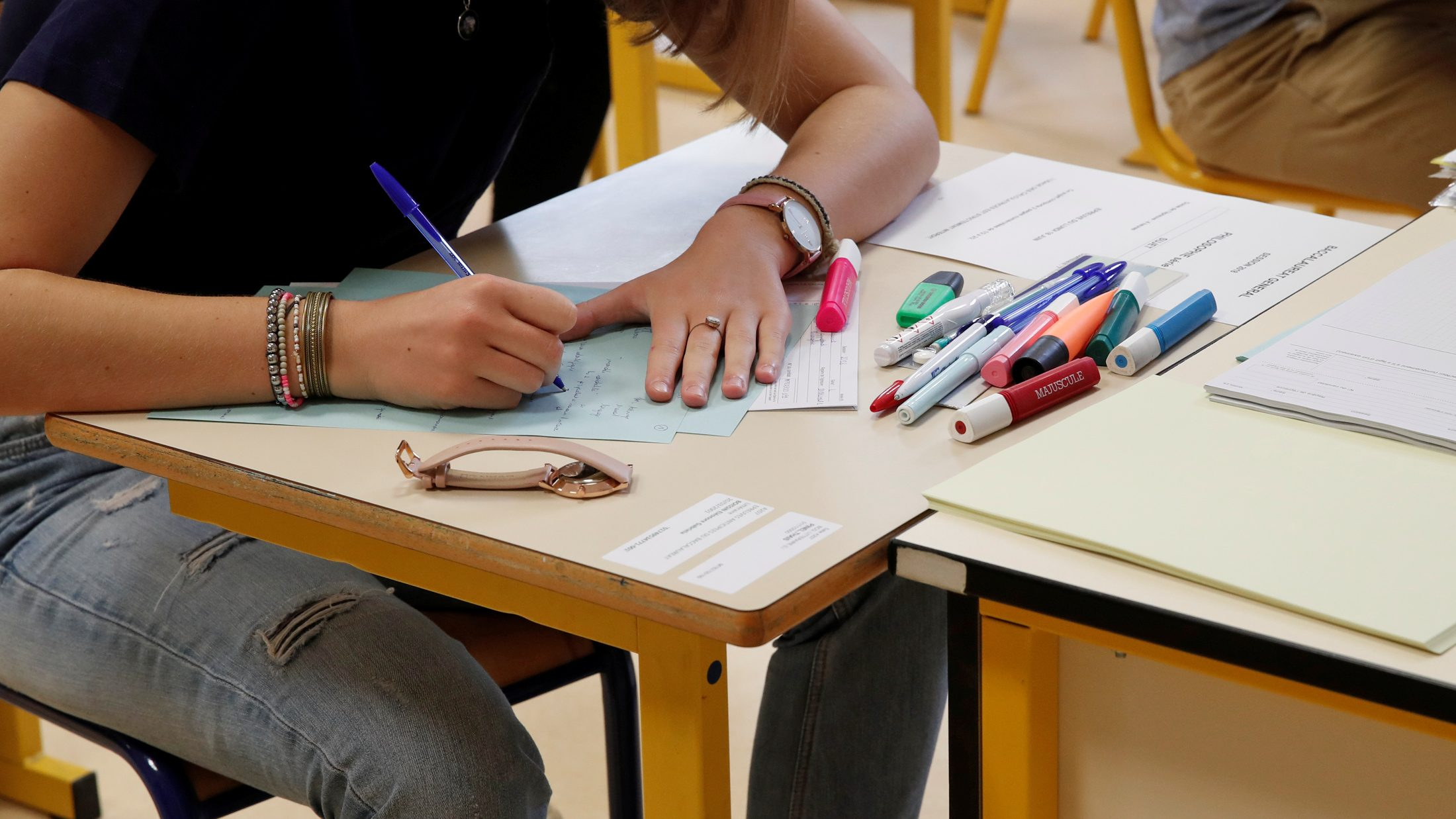 High school students start working on the first exam of the baccalauréat
