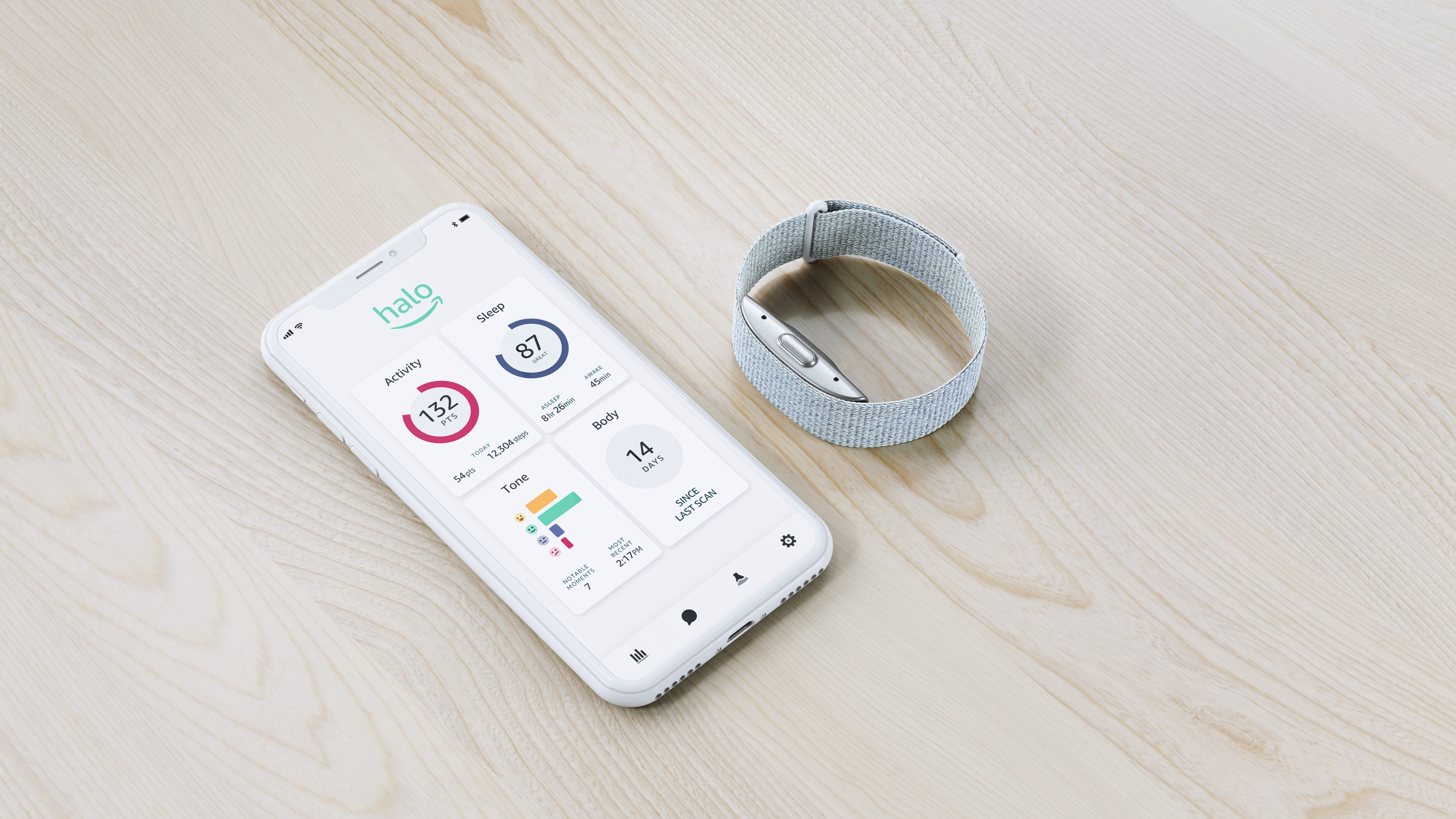A silver Amazon Halo wristband sits next to a smartphone displaying the sleek Halo app
