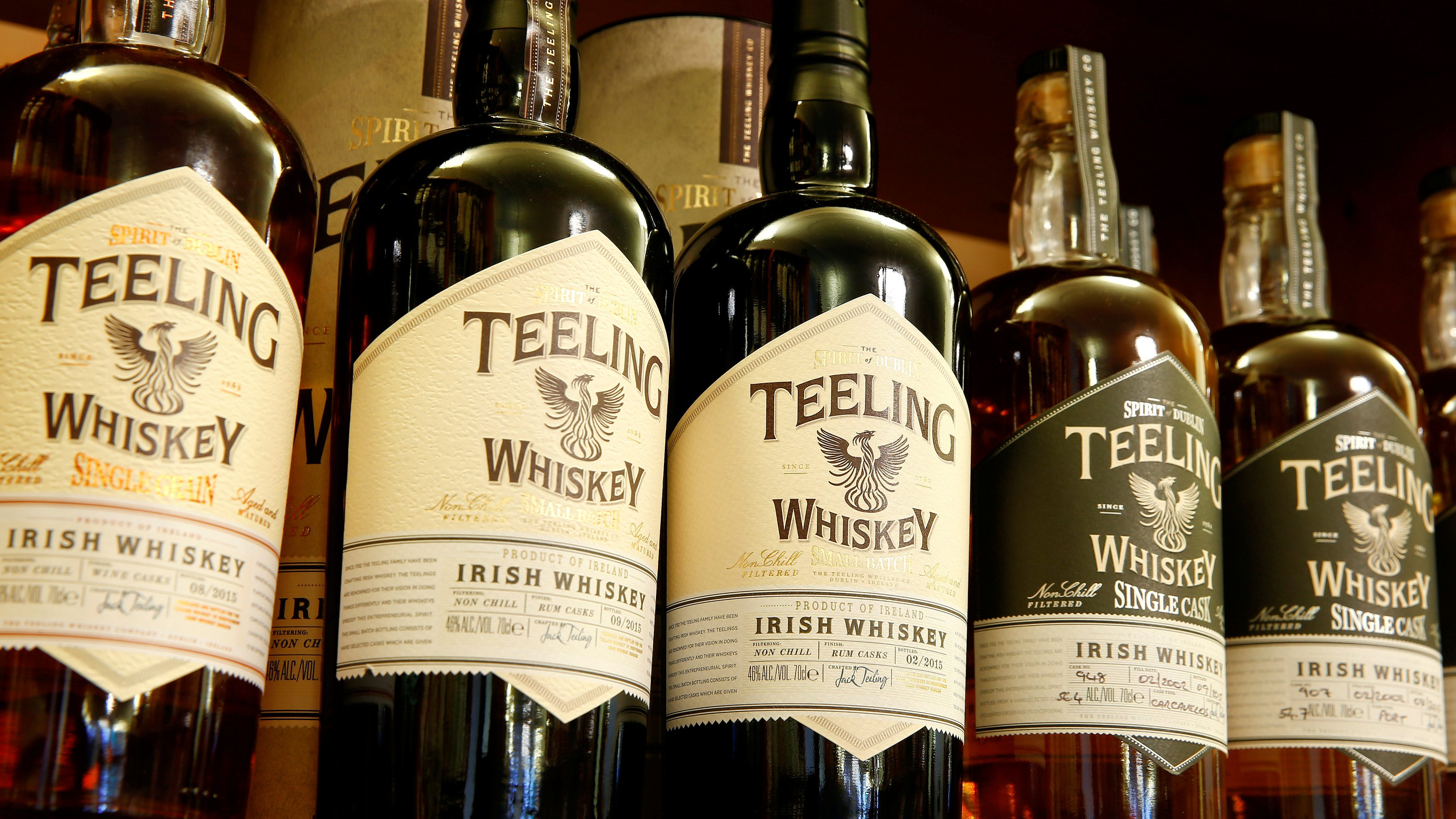 Bottles of single malt whiskey of Irish distillery Teeling are offered in Zurich