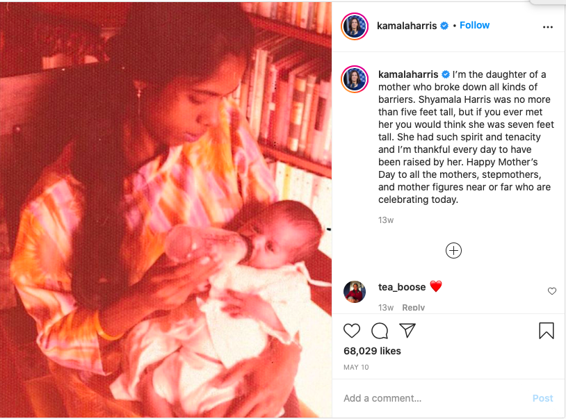 Kamala Harris's Instagram post about her mother