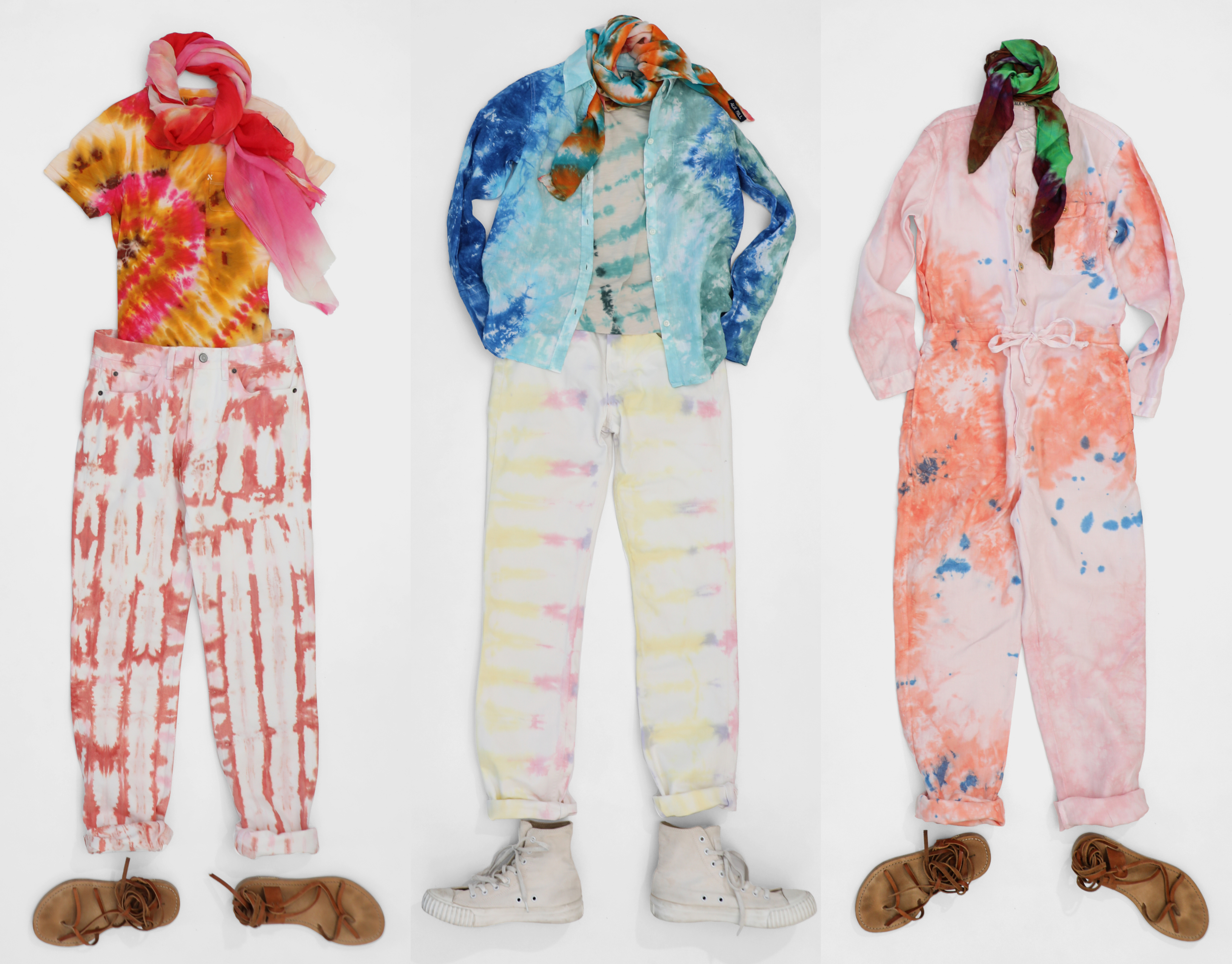 Lots of tie-dyed clothes combined together by the fashion label Alex Mill