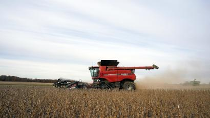 Soybeans are harvested from a field on Hodgen Farm in Roachdale, Indiana, U.S.