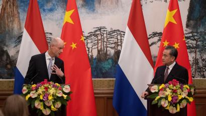 Netherlands Minister of Foreign Affairs Stef Blok speaks during a news conference next to China's Foreign Minister Wang Yi