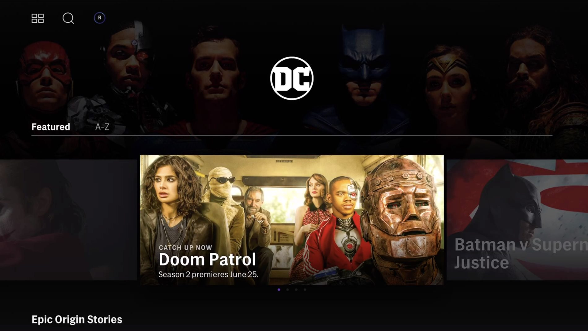 DC Comics hub on the HBO Max streaming service interface
