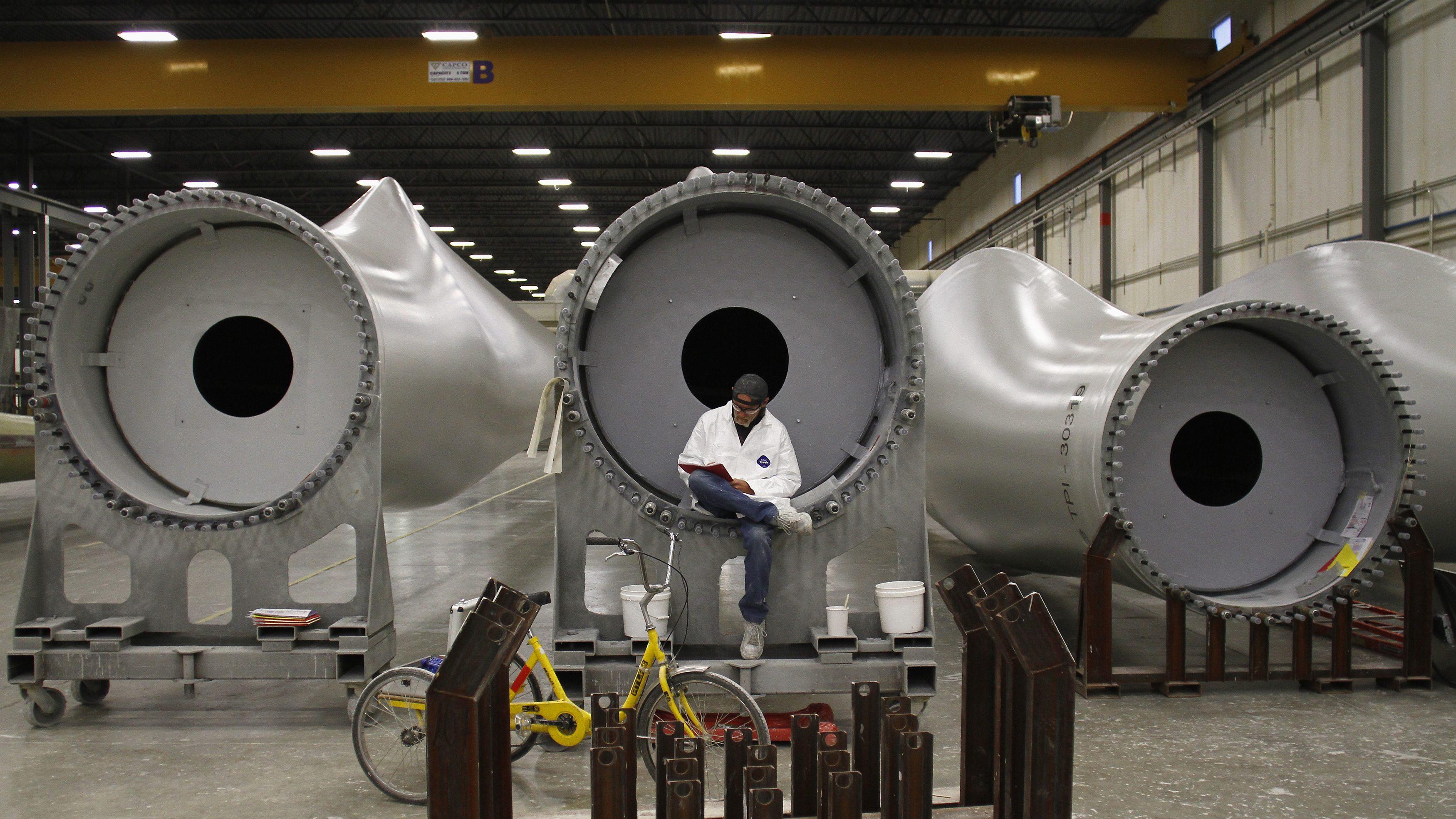 Workers inside a wind turbine factory in Iowa.
