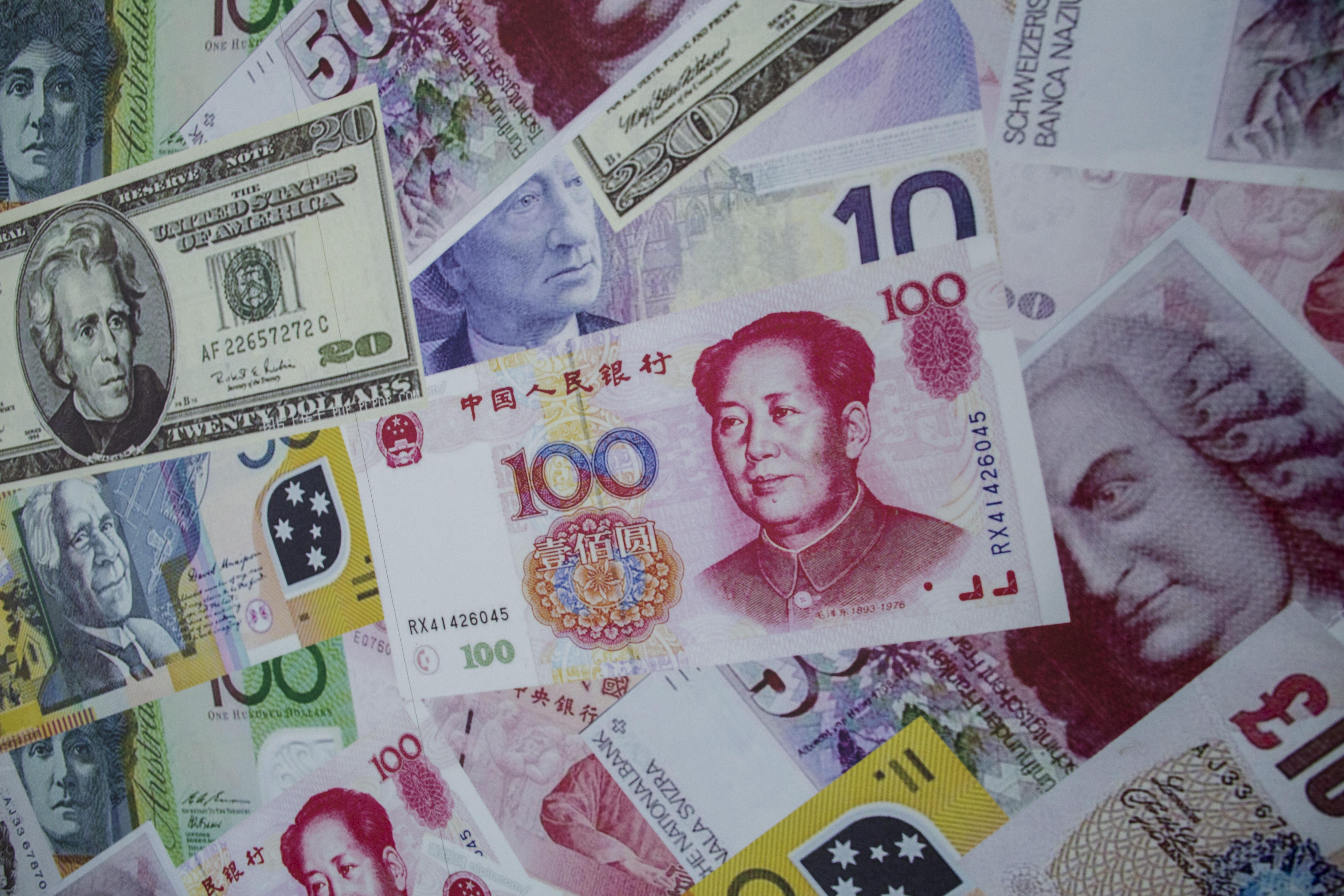 Renminbi or yuan, US dollar, euro