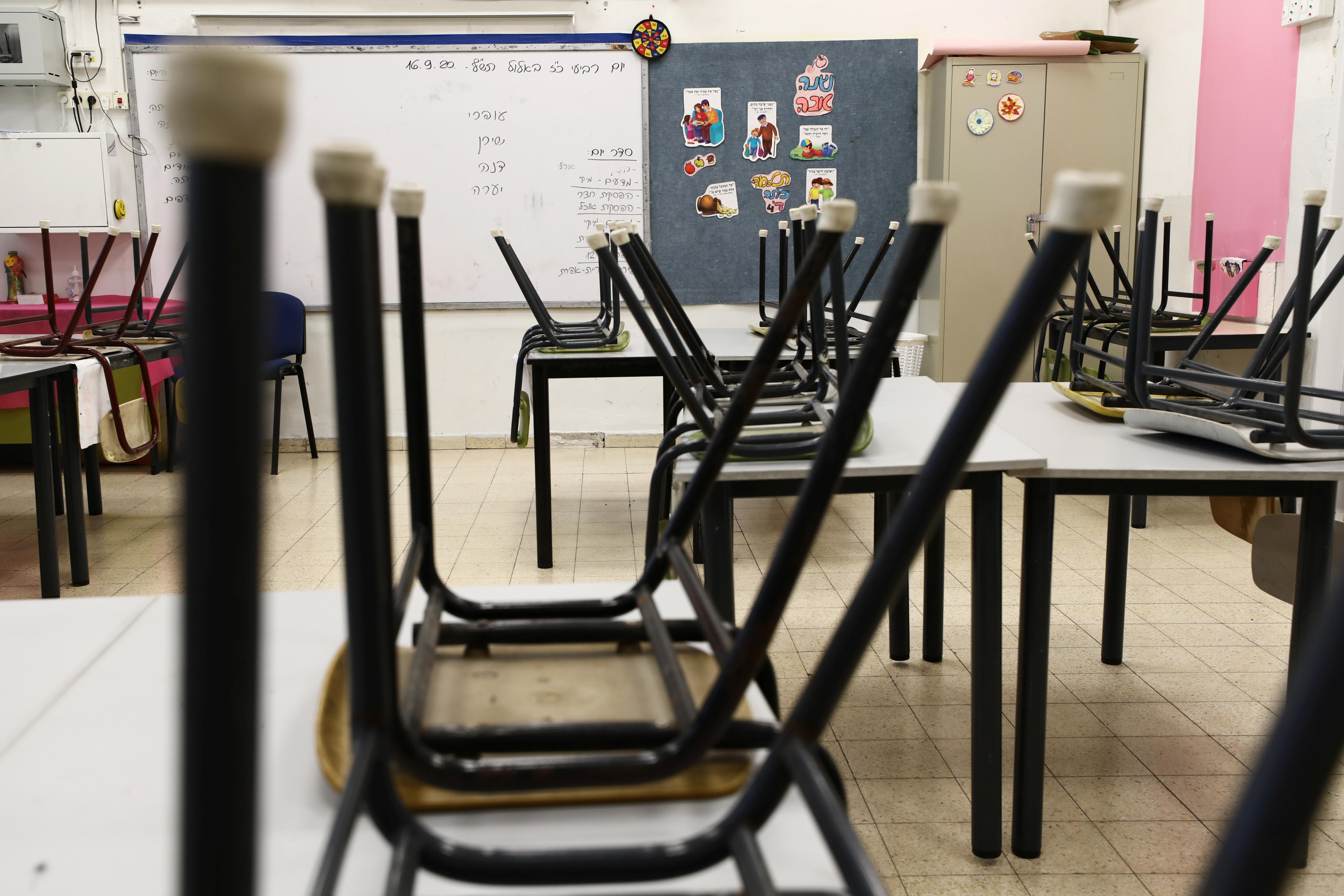 Empty classroom, air ventilation