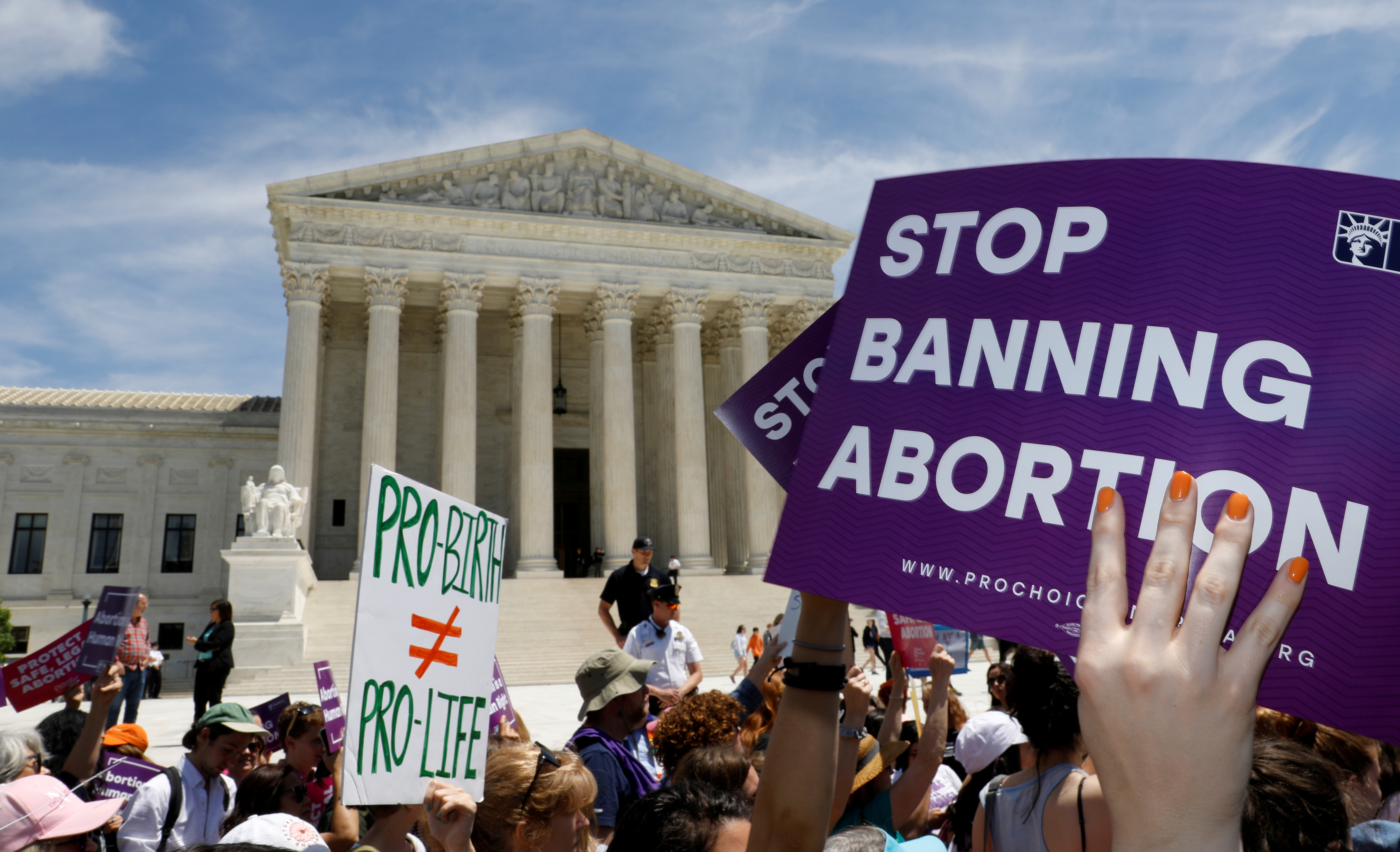 Abortion rights activists outside the Supreme Court