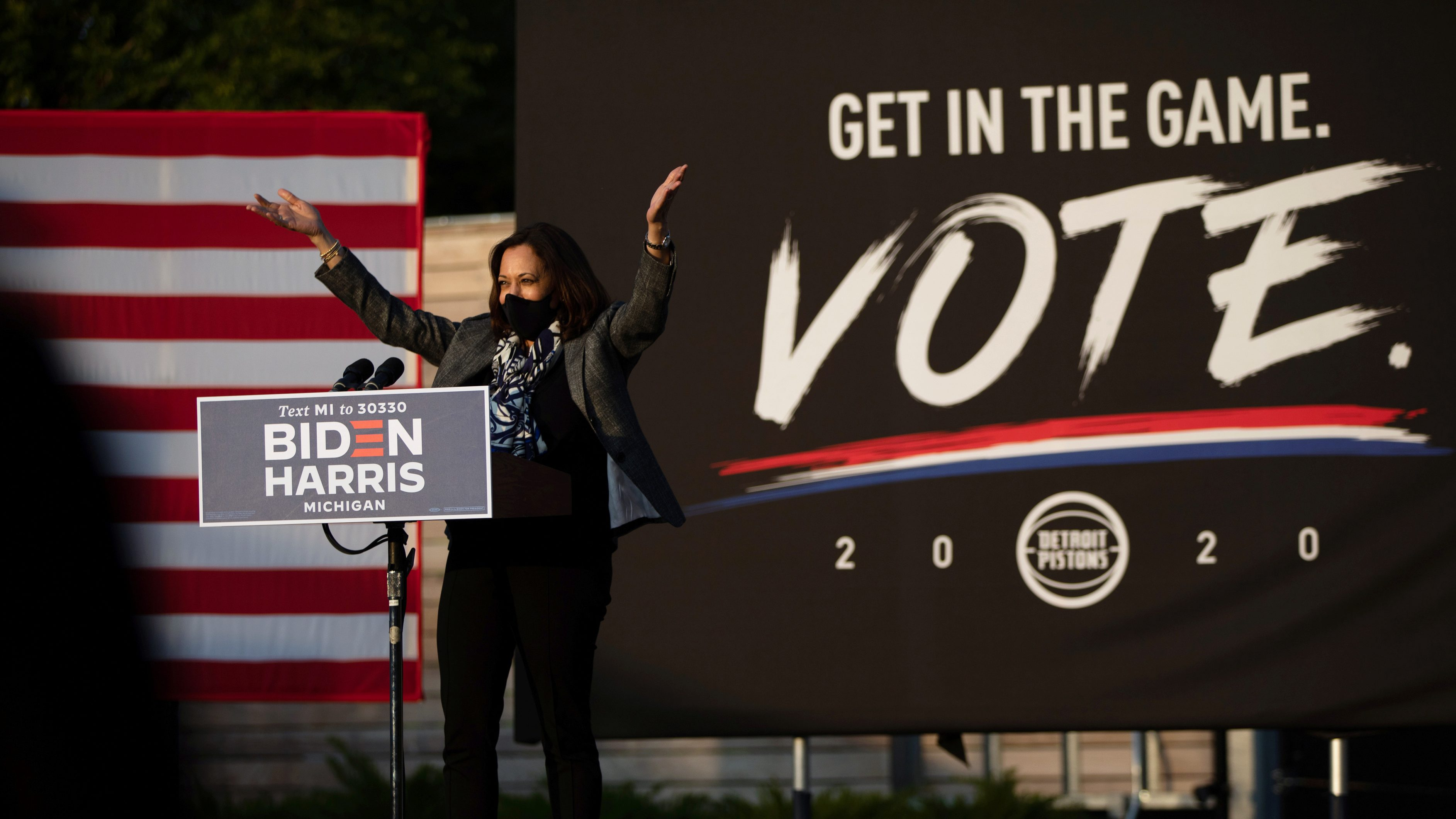 Democratic vice presidential nominee Harris campaigns in Michigan
