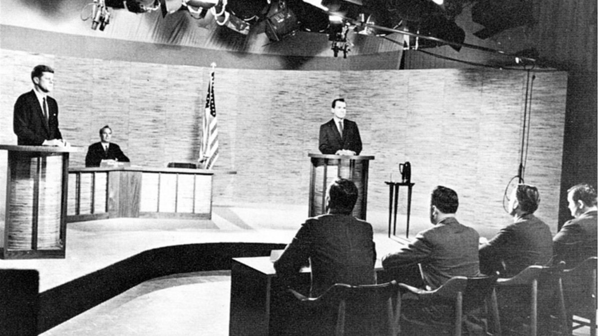 John F Kennedy and Richard Nixon at their televised presidential debate, in 1960.