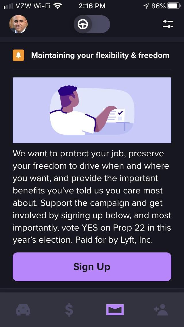 Lyft driver Prop 22 app