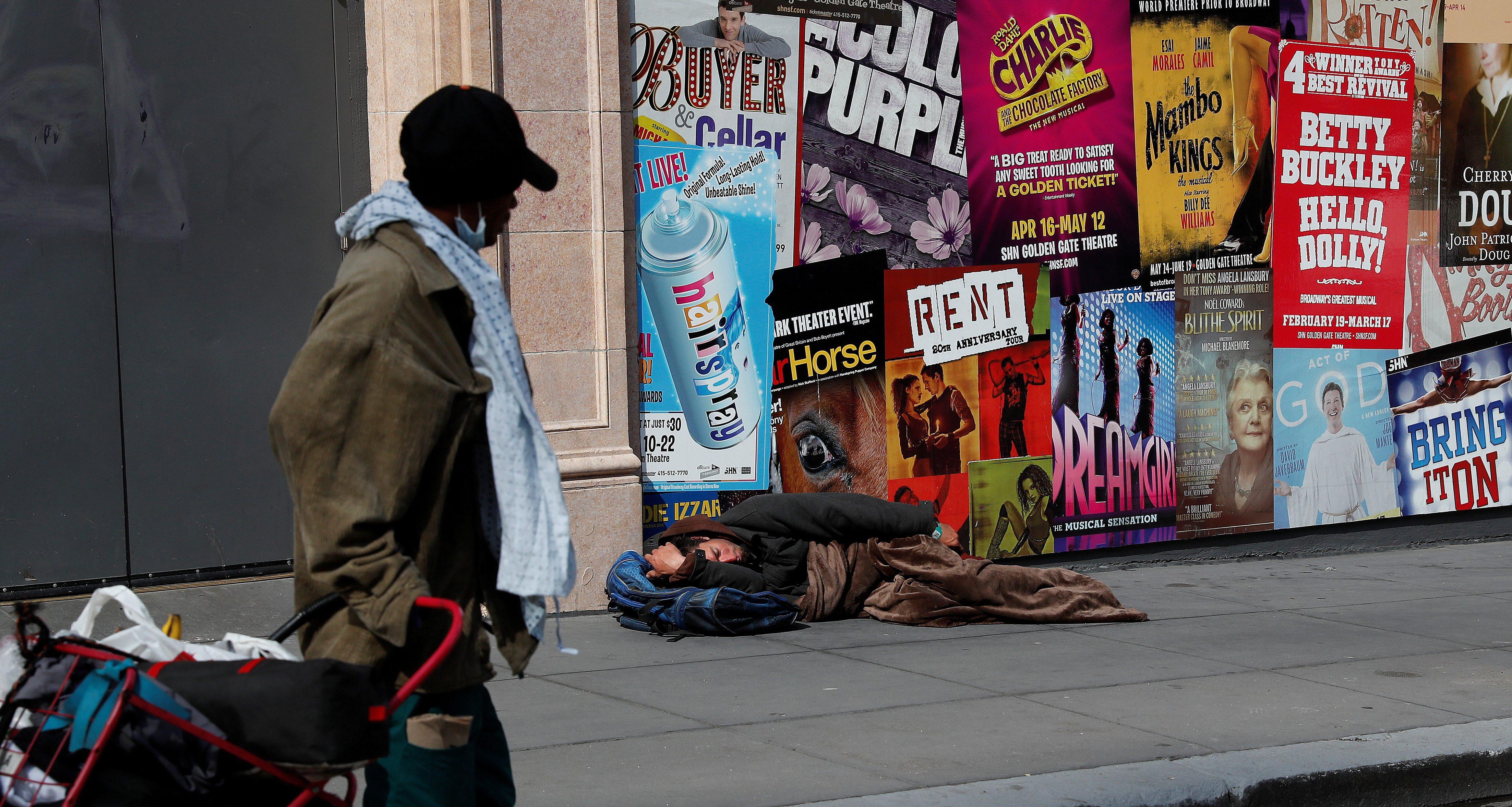 Homeless men in San FRancisco. The US trails in many social progress metrics.