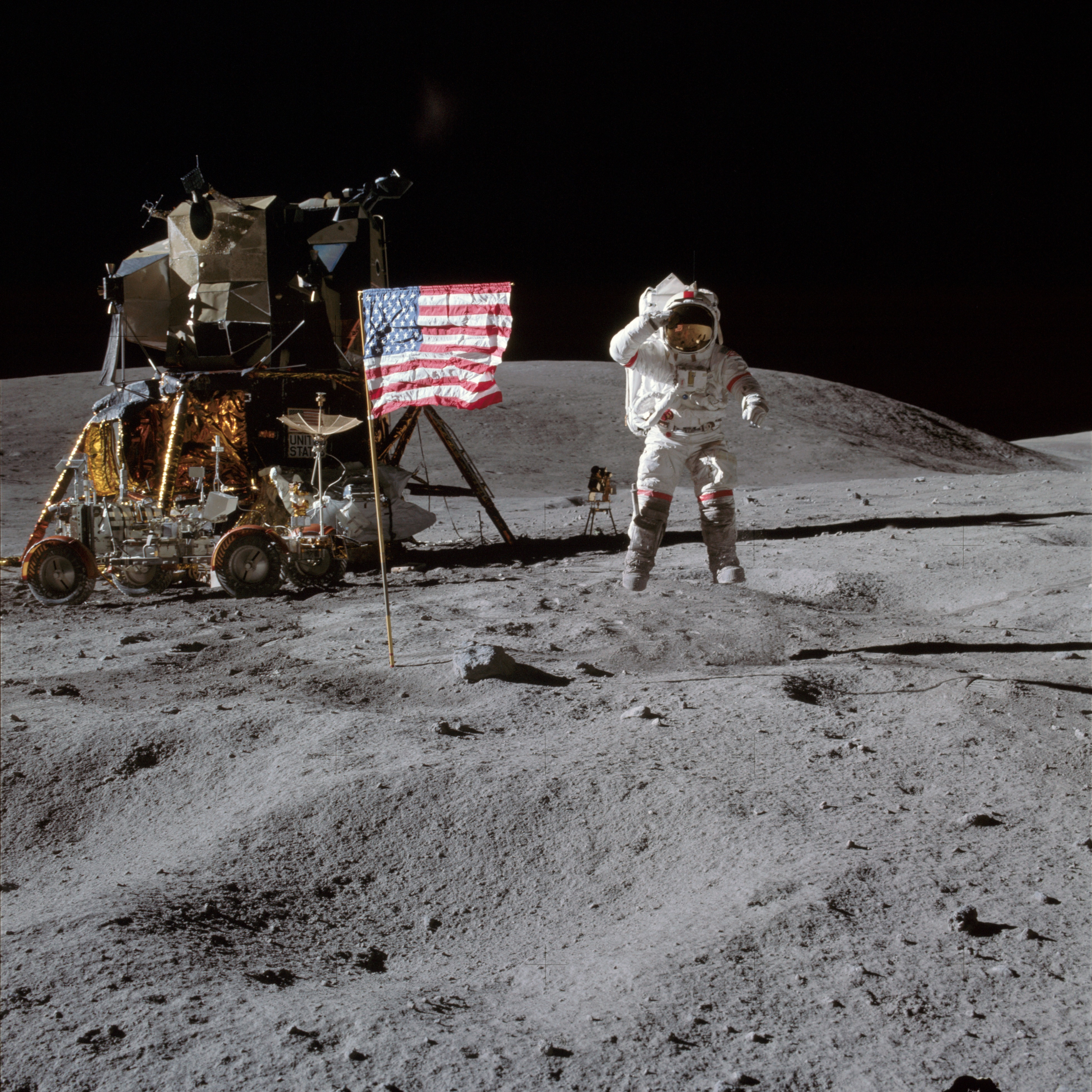 Astronaut John Young leaps from the lunar surface.