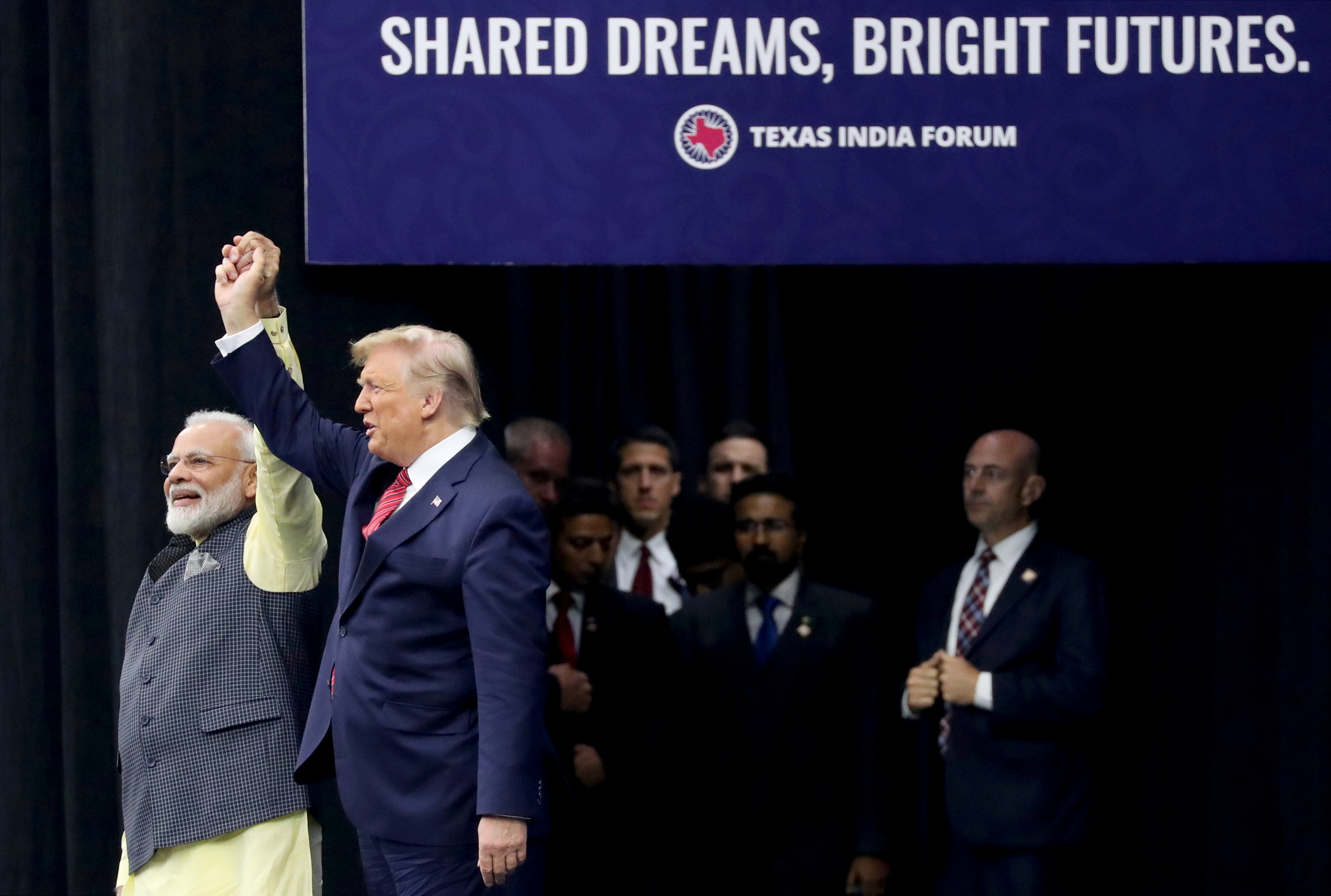 "Modi and Trump at the ""Howdy, Modi!"" event in Houston on Sept. 22, 2019."