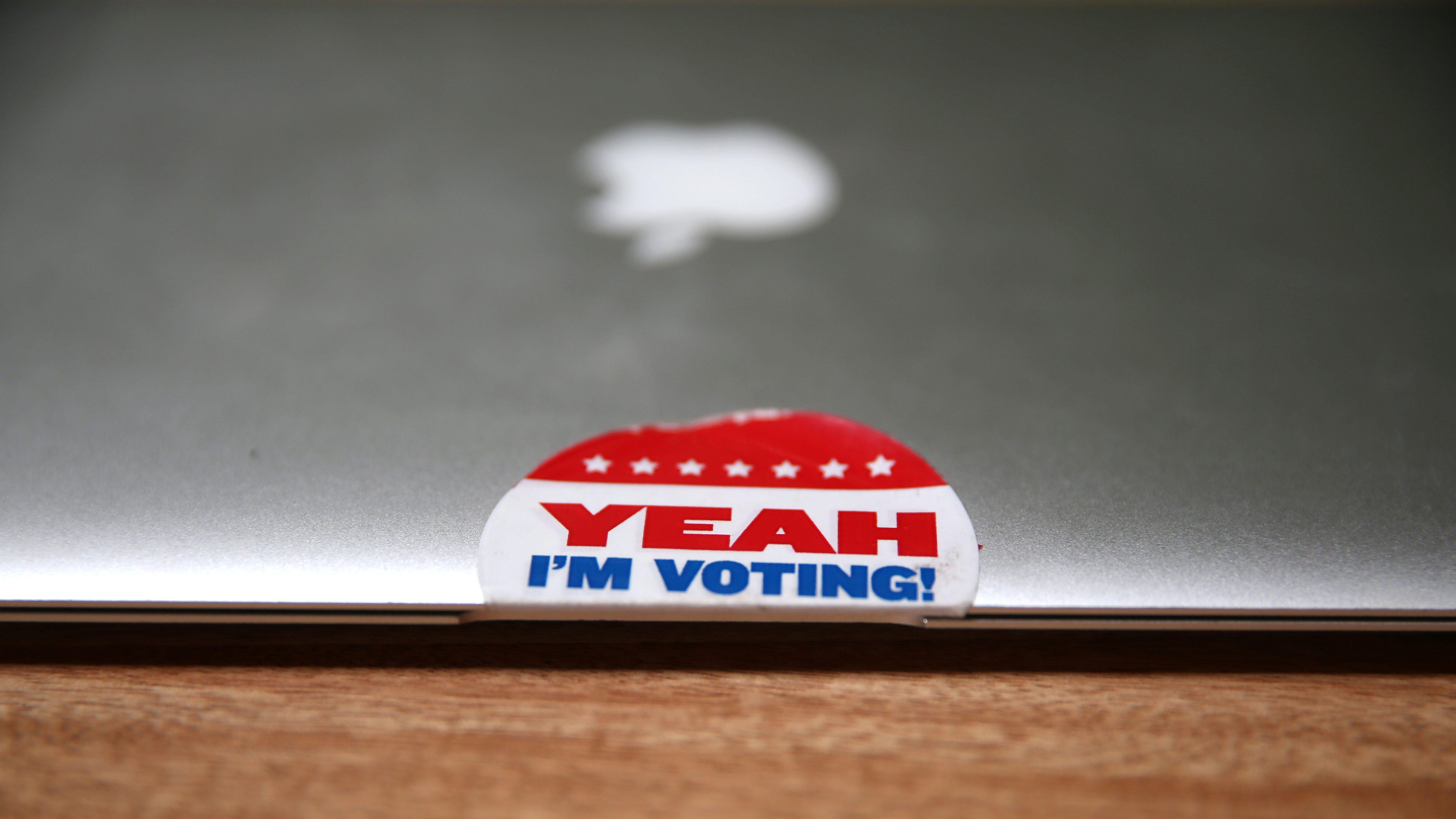A voter sticker