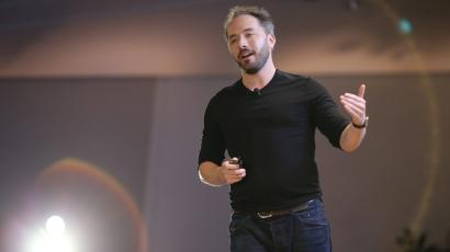 Drew Houston, Chief Executive Officer and founder of Dropbox, on stage in 2017