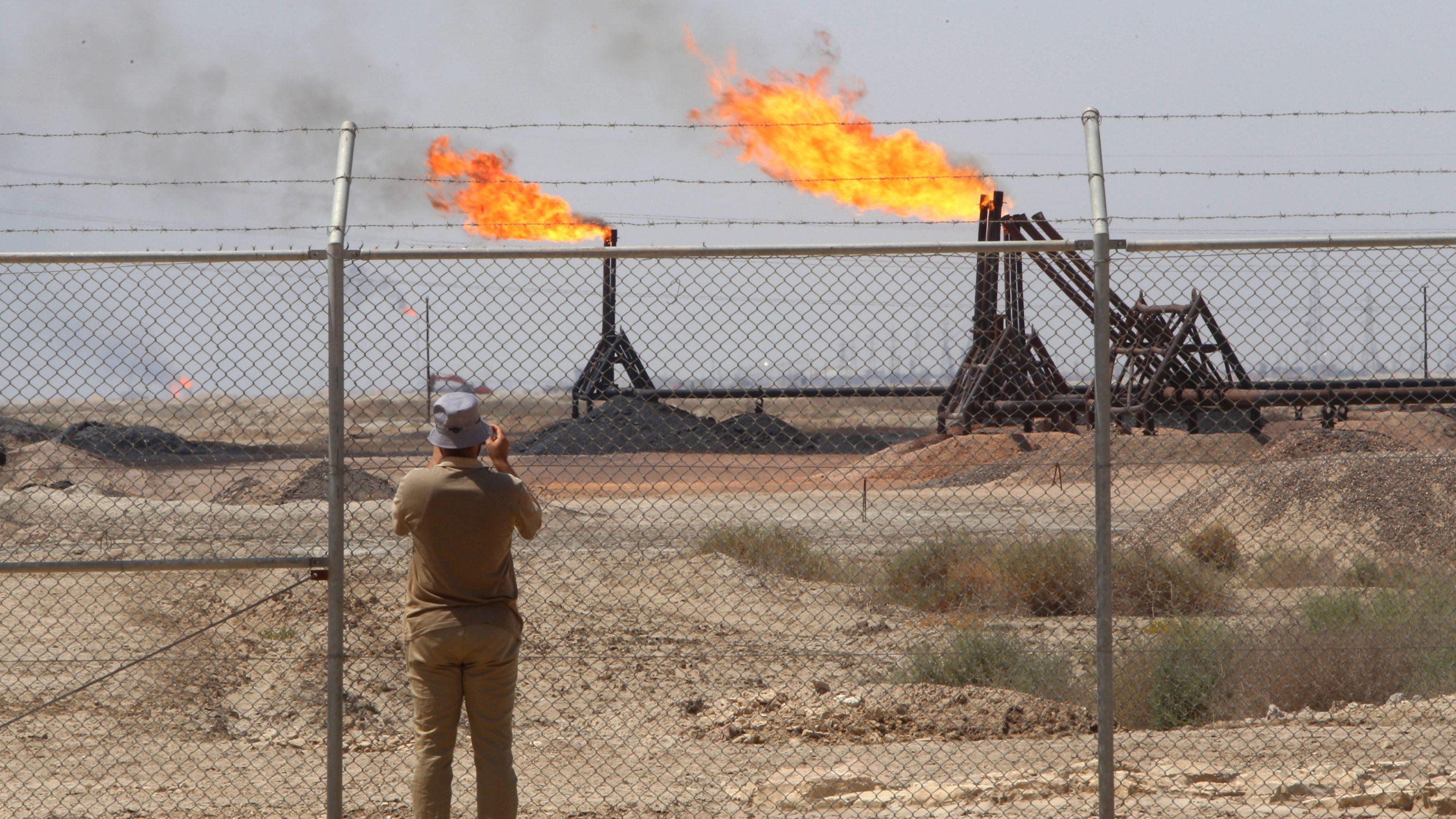 An ExxonMobil oil drilling rig in Iraq.